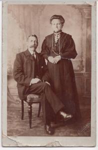 Older Edwardian Couple, Studio Portrait RP PPC, Baldwin Of Bath & Cheltenham