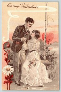 PFB Valentine~Elegant Victorian Couple~Heart Sunset~Daisy White Art~Emboss~7197