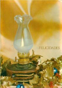 Felicidades greetings Argentina postcard candle lamp