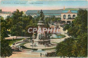 Old Postcard Lyon Place Carnot Gare Perrache