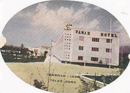 TEHRAN IRAN PARK HOTEL LARGE OLD LUGGAGE LABEL