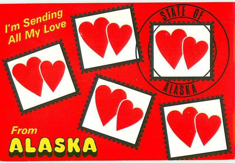 Alaska Sending My Hearts State of Alaska Red Black Hearts  Postcard  # 7722