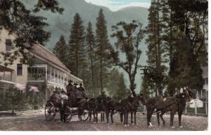 Six-horse Stage Leaving Sentinel Hotel, Yosemite