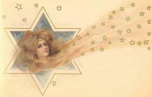 Art Nouveau Woman as Comet Flowing Hair and Stars Repro Postcard