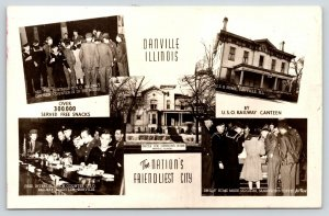 Danville Illinois~WWII USO Club Railway Canteen~Sailors Lunch Counter~1940s RPPC