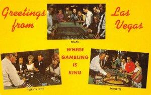 LAS VEGAS, NV Craps Twenty One Roulette Nevada Gambling Postcard ca 1960s