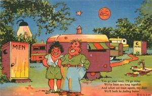 Comic Humor 1940s Walters Travel Trailer Camping Postcard linen 5612