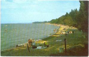 One of Lake Eries Many Fine Beaches, Postmarked at Ashtabula Ohio 1958 Chrome