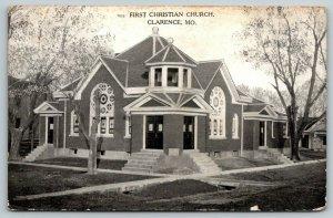 Clarence Missouri~First Christian Church~Houses on Both Sides~1908 B&W Curteich