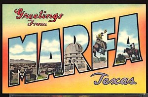 USA Postcard Large Letter Greetings From Marfa Texas