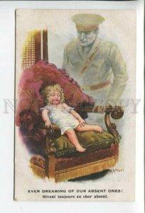 431866 A.A. NASH WWI Propaganda Dreaming Girl Vintage postcard #1104