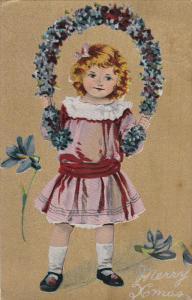 CHRISTMAS, Merry Xmas, Girl holding horseshoe shaped flower wreath, gold back...