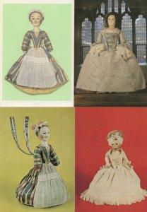 Medieval Victorian 1700s Wooden Toy Dolls 4x Exhibit Postcard s