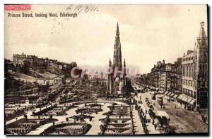 Postcard Old Edinburgh Princes Street Looking West