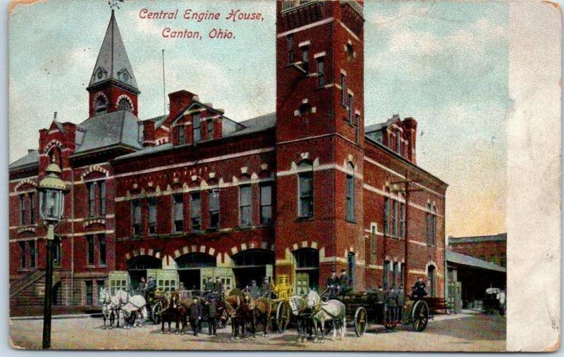 Canton, Ohio Postcard Central Engine House Fire Dept Horse-Drawn Engines 1910s