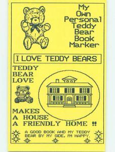 1990's TEDDY BEAR BOOKMARK POSTCARD H9594