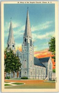 Olean, New York Postcard St. Mary of the Angels Church Street View Linen 1940s