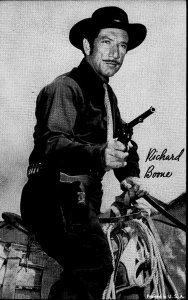 1950'S EXHIBIT ARCADE CARD RICHARD BOONE AS PALADIN HAVE GUN HORSE