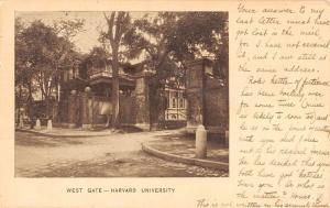Boston Massachusetts Harvard University West Gate Antique Postcard K86537