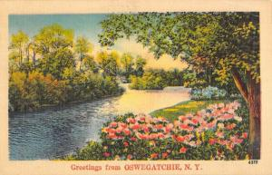 Oswegatchie New York Scenic Waterfront Greeting Antique Postcard K89233