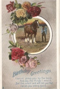 Horse. Man. Roses  Tuck Gem Glosso Birthdsy Greetings Ser. PC # R1026