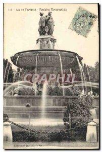 Old Postcard Aix en Provence Monumental Fountain