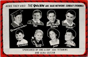 The Quiz Kids ABC Blue Network One A Day Vitamins Alka-Seltzer AD Postcard E50