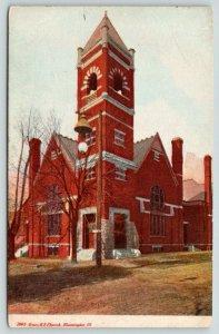 Bloomington Illinois~Grace ME Church~Corner View~Lamp Post in Front~c1910