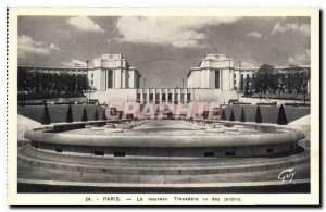 Old Postcard New Paris Trocadero gardens seen