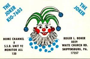 Pennsylvania Shippensburg QSL Card Roger L Boher The Joker KIO-7603