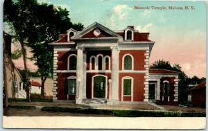 Malone, New York Postcard Masonic Temple Lodge Building / Street View 1912