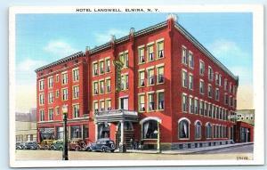 *B63 Hotel Langwell Elmira NY New York Classic Cars Vintage Postcard