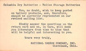 Hardware Advertising Old Vintage Antique Post Card National Carbon Company In...