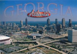 Aerial View of Atlanta GA, Georgia - Georgia Dome on the left