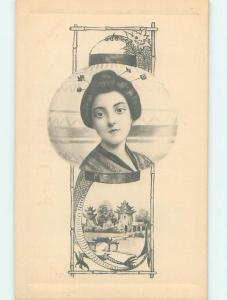 Pre-Linen PRETTY JAPANESE GEISHA GIRL - JAPAN INTEREST HJ4031-22