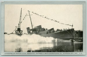 Sturgeon Bay Wisconsin~USS Knoxville Launch~Tacoma Frigate~1943 Silver Border