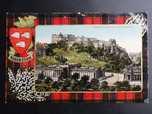 Scotland ROBERTSON TARTAN & ARMS Edinburgh Castle c1911 by Valentine