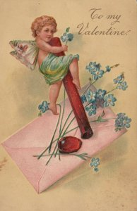 VALENTINE'S DAY, 1900-10s; Cupid, sealed envelope, Forget-Me-Nots, PFB 3315