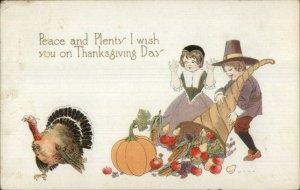 Thanksgiving - Pilgrim Children Turkey Cornucopia c1915 Postcard