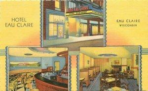 Hotel Eau Claire roadside Wisconsin Postcard interior entrance Teich 12943
