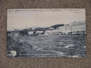 The Hudson at Glens Falls, N.Y. (Finch Pruyn on the right), used  vintage card