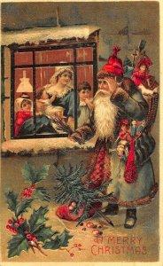 Christmas Green Suited Santa Claus Peeking in Window Children Postcard