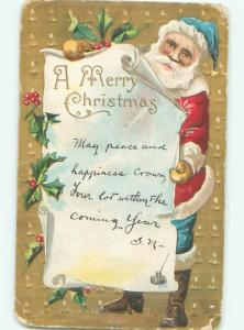 Pre-Linen Christmas SANTA CLAUS WEARING BLUE PANTS AND HAT AB4932