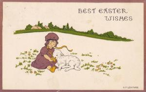Best Easter Wishes, Girl feeding a lamb on a field, PU-1918