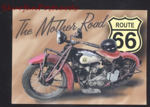 ROUTE 66 THE MOTHER ROAD VINTAGE MOTORCYCLE POSTCARD