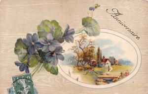 Anniversaire, violets, flowers, village fantasy landscape, fairy tale