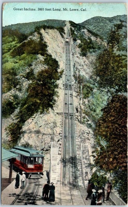Mount Lowe Incline Railway CA Postcard View from Station w/ 1923 LB Cancel