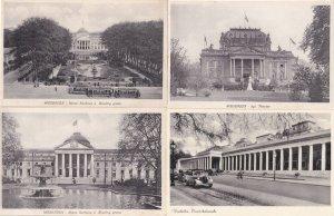 Wiesbaden Theatre Bowling Green 4x Vintage German Postcard s
