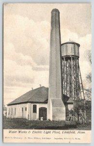 Litchfield Minnesota~Water Works & Electric Light Plant~Water Tank Tower~c1910