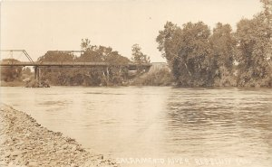 G88/ Red Bluff California Postcard RPPC 1911 Sacramento River Bridge